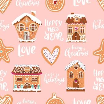 Bezszwowy świąteczny rysunek domu z piernika piernikowe ciasteczka handdrawn domy