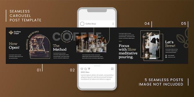 Bezszwowy szablon karuzeli z motywem kawy dla mediów społecznościowych.
