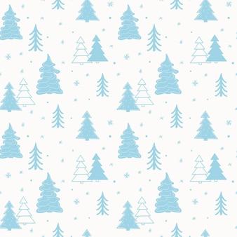 Bezszwowy szablon nowego roku ze stylizowanymi choinkami w lesie