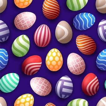 Bezszwowy szczęśliwy wielkanoc wzór z realistycznymi jajkami z różnym ornamentem