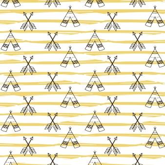 Bezszwowy teepee wzór boho navajo