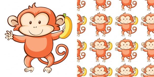 Bezszwowy tło projekt z śliczną małpą
