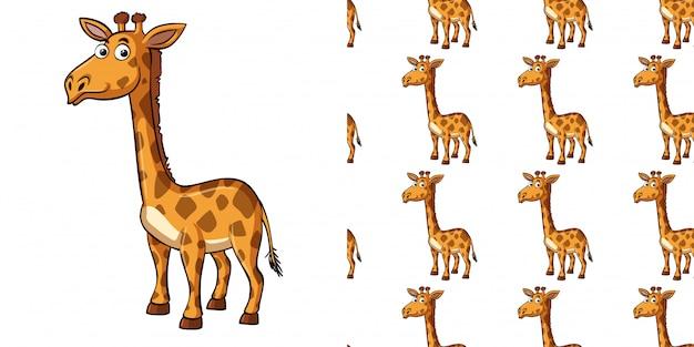 Bezszwowy tło projekt z śliczną żyrafą