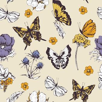 Bezszwowy tło z motylami