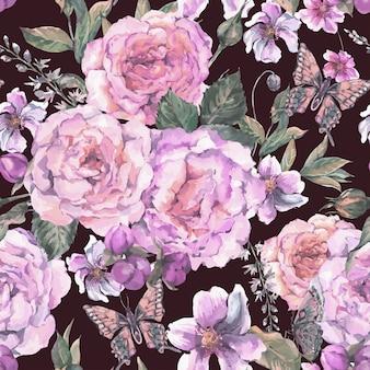 Bezszwowy tło z różami i motylem