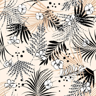 Bezszwowy tropikalny kwiecisty wzór z kwiatem i houndstooth wypełniają liście.