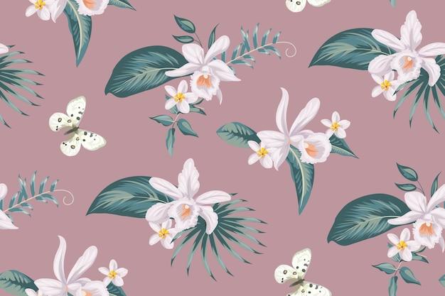 Bezszwowy tropikalny wzór z kwiatami orchidei na tekstylia