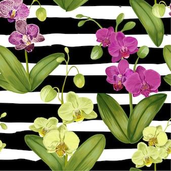 Bezszwowy tropikalny wzór z storczykowymi kwiatami.