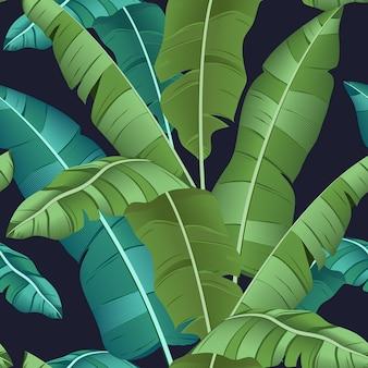 Bezszwowy turkusowy i zielony tropikalny wzór z liśćmi bananowymi