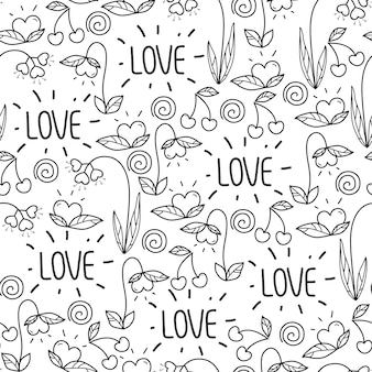 Bezszwowy walentynka dnia wzór w doodle stylu