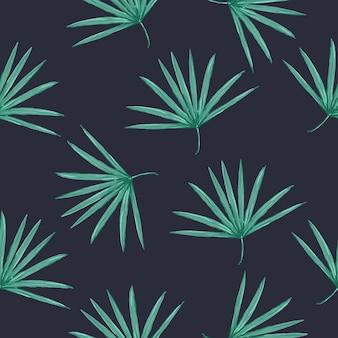 Bezszwowy wektor tropikalny wzór z liśćmi palmowymi na białym tle