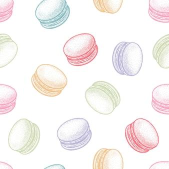 Bezszwowy wektor wzór z deserowymi francuskimi makaronikami lub makaronikami