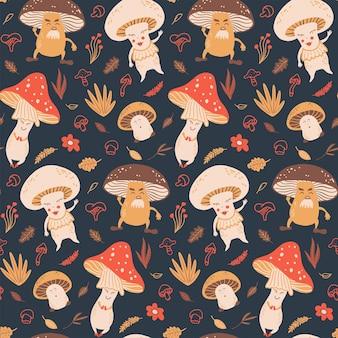 Bezszwowy wektor wzór z grzybami i roślinami śliczna ilustracja dla tkanin tekstylnych