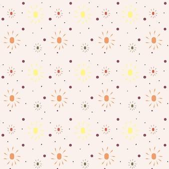 Bezszwowy wektor wzór z handdrawn słońce moda dziecko tekstury dla tkaniny