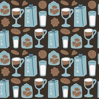 Bezszwowy wektor wzór z mlecznymi ciasteczkami i kawą