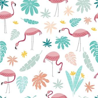 Bezszwowy wektor wzór z różowymi flamingami i tropikalnymi liśćmi na białym tle