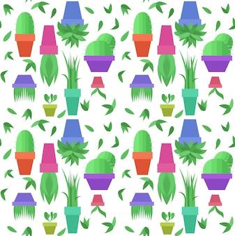 Bezszwowy wektor wzór z zielonymi liśćmi i doniczkami z roślinami doniczkowymi