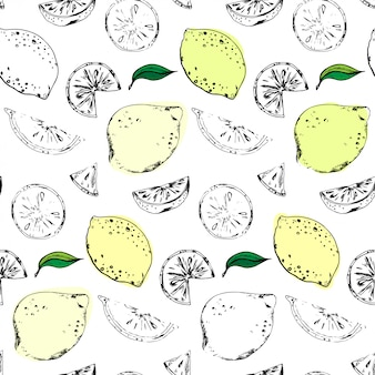 Bezszwowy wektoru wzór z cytrynami i wapnem