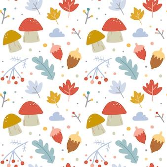 Bezszwowy wektoru wzór z jesień liśćmi i pieczarkami