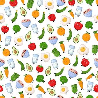 Bezszwowy wektoru wzór z kawaii kreskówki jedzeniem
