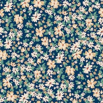 Bezszwowy wiosenny kwiatowy wzór z stokrotkami do sukienki