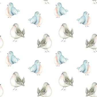 Bezszwowy wzór akwarela błękitni ptaki