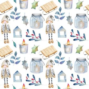 Bezszwowy wzór akwareli skandynawskie bożenarodzeniowe dekoracje i rośliny