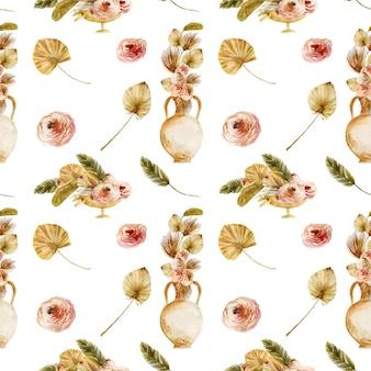 Bezszwowy wzór akwareli starożytnych waz z suszonymi liśćmi palmowymi i kwiatami boho