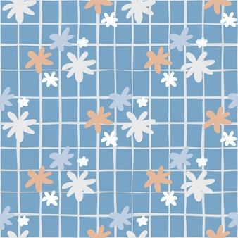 Bezszwowy wzór botaniczny z kwiatami stokrotki. niebieskie tło z czekiem. proste tło.