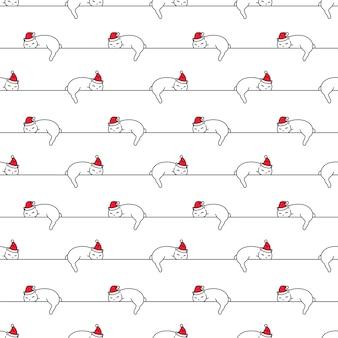 Bezszwowy wzór boże narodzenie santa claus kociak spanie
