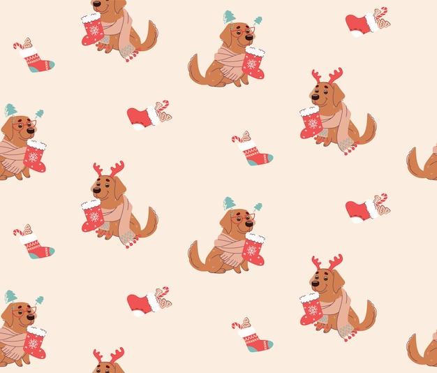 Bezszwowy wzór bożonarodzeniowy z psami
