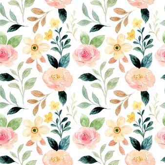 Bezszwowy wzór brzoskwini kwiatowy z akwarelą