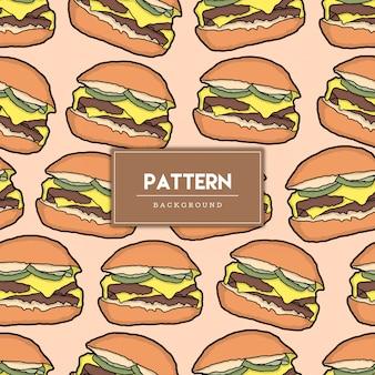 Bezszwowy wzór burger jedzenie ręcznie rysowane ilustracja