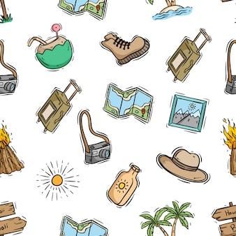 Bezszwowy wzór campingowi elementy z ślicznym doodle stylem