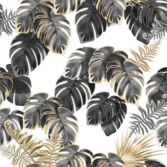 Bezszwowy wzór ciemne liście liany.