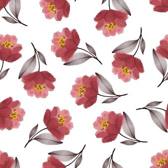 Bezszwowy wzór czerwonego płatka i szarego liścia do projektowania tkanin i tła