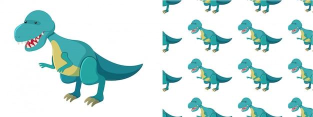 Bezszwowy wzór dinosaury na bielu