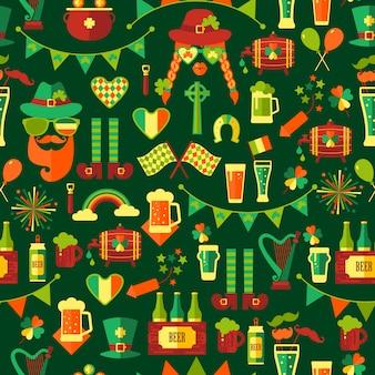 Bezszwowy wzór dla świętego patricks dnia na zielonym tle.