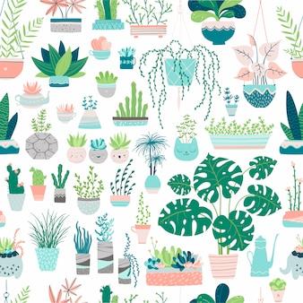Bezszwowy wzór domowe rośliny w doniczkach. ilustracje w stylu rysowane ręcznie. obrazy w pastelowych kolorach na białym tle. kompozycje kaktusów, sukulentów, palm, monstera, ziół itp