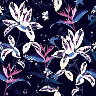 Bezszwowy wzór egzotyczna ciemna tropikalna noc i kwiat