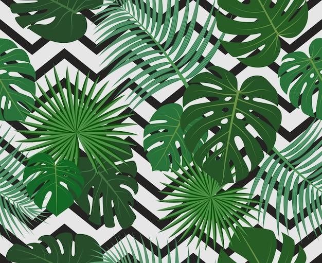 Bezszwowy wzór egzotycznych dżungli tropikalni palmowi liście