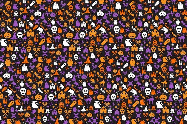 Bezszwowy wzór halloween z dyniami, kapeluszami czarownic, czaszkami, nietoperzami, kościami i duchami.
