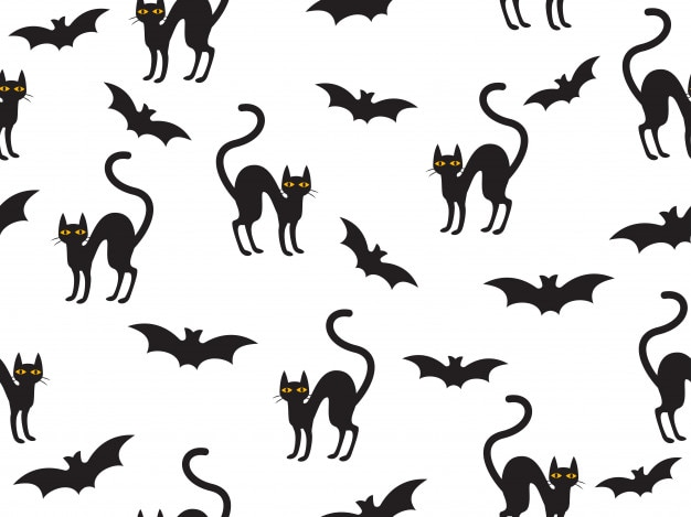 Bezszwowy wzór halloween z kotem i nietoperzem