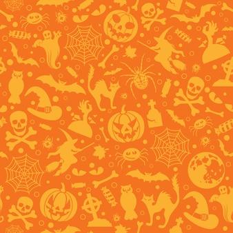 Bezszwowy wzór halloween z nietoperzami, duchem i dynią. ilustracja wektorowa na białym tle