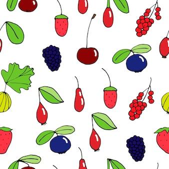 Bezszwowy wzór jagód, ilustracja wektorowa doodle, rysunek odręczny, kolorowy
