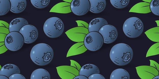 Bezszwowy wzór jagoda z liśćmi