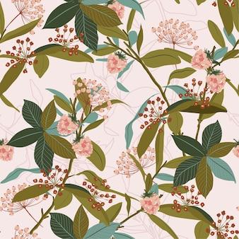 Bezszwowy wzór jesień liście, jagody, wektor