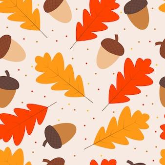 Bezszwowy wzór jesień symbole