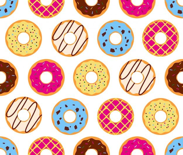 Bezszwowy wzór kolorowi donuts