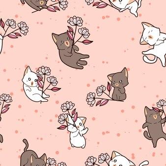 Bezszwowy wzór koty trzyma kwiaty